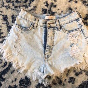 VIBRANT m.i.u Acid wash distressed high waist jean